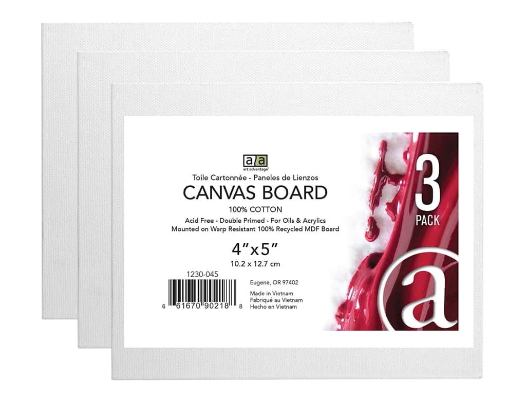 "Art Advantage Canvas Board Recycled MDF 4""x 5"" 3pc"