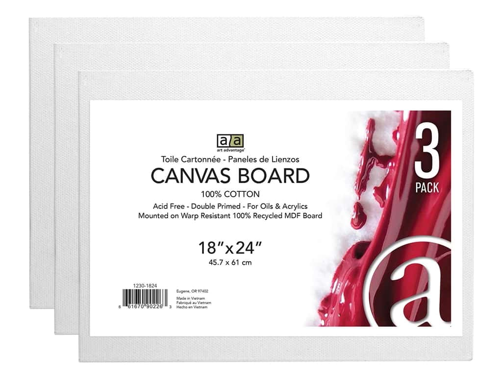 "Art Advantage Canvas Board Recycled MDF 18""x 24"" 3pc"