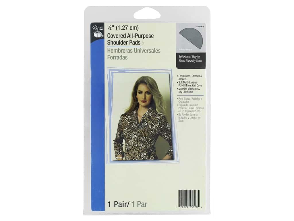 Dritz Covered All-Purpose Shoulder Pads 1/2 in. Black