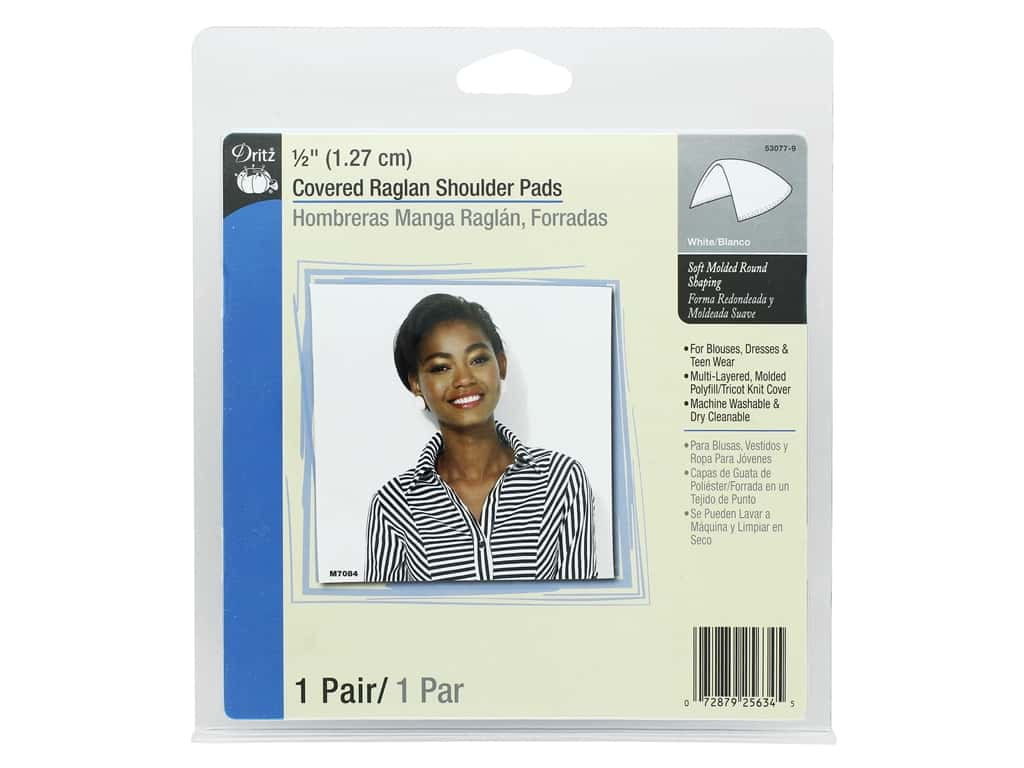 Dritz Covered Raglan Shoulder Pads 1/2 in. White