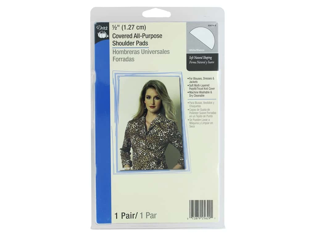 Dritz Covered All Purpose Shoulder Pads 1/2 in. White