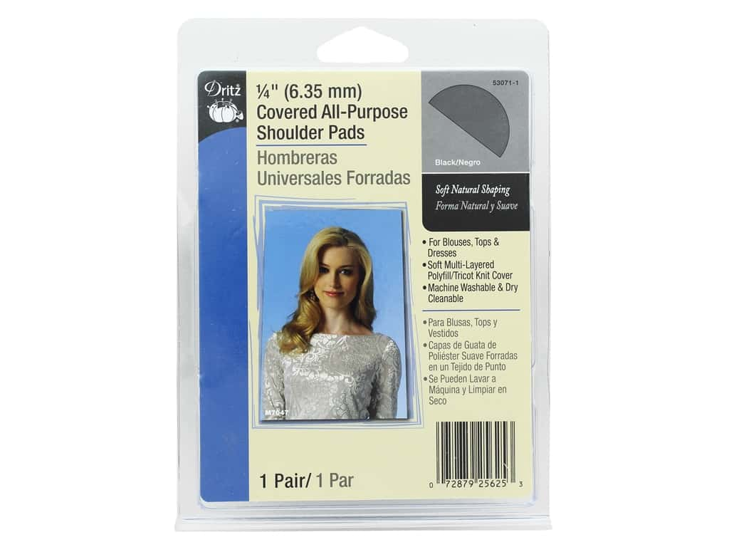 Dritz Covered All Purpose Shoulder Pads 1/4 in. Black