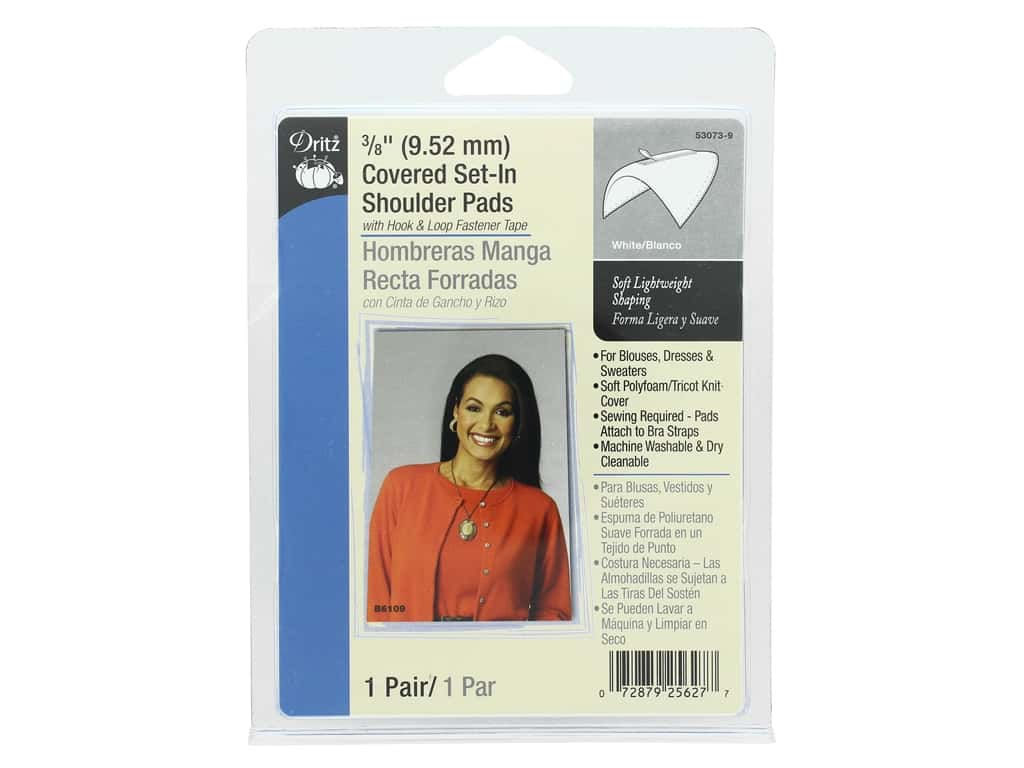Dritz Covered Set-In Shoulder Pads White