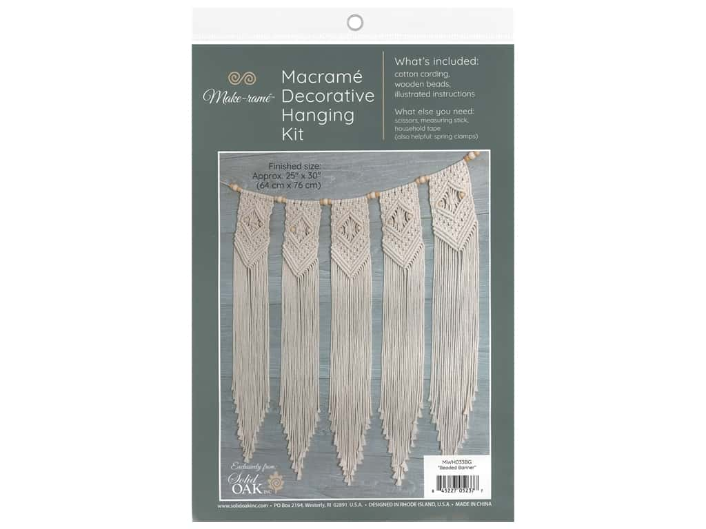 Solid Oak Macrame Decorative Hanging Kit - Beaded Banner