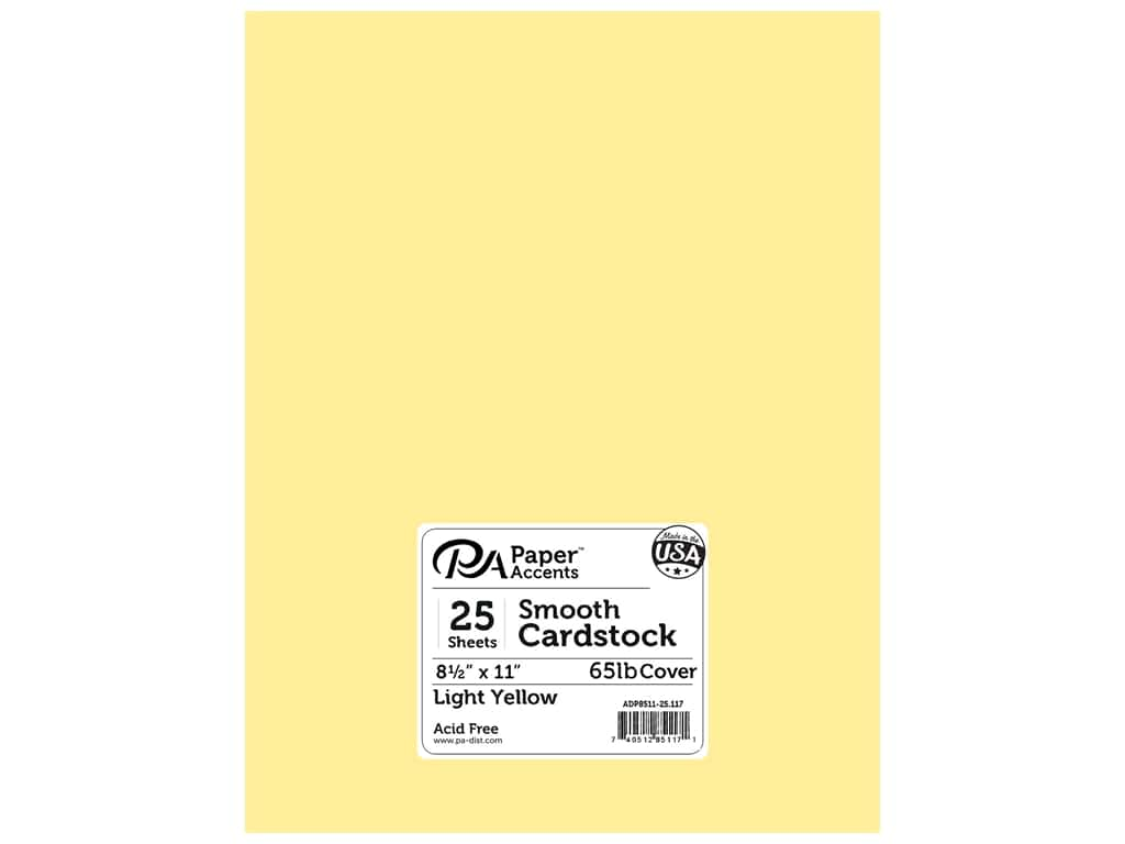 Paper Accents Cardstock 8 1/2 x 11 in. #117 Smooth Light Yellow 25 pc.