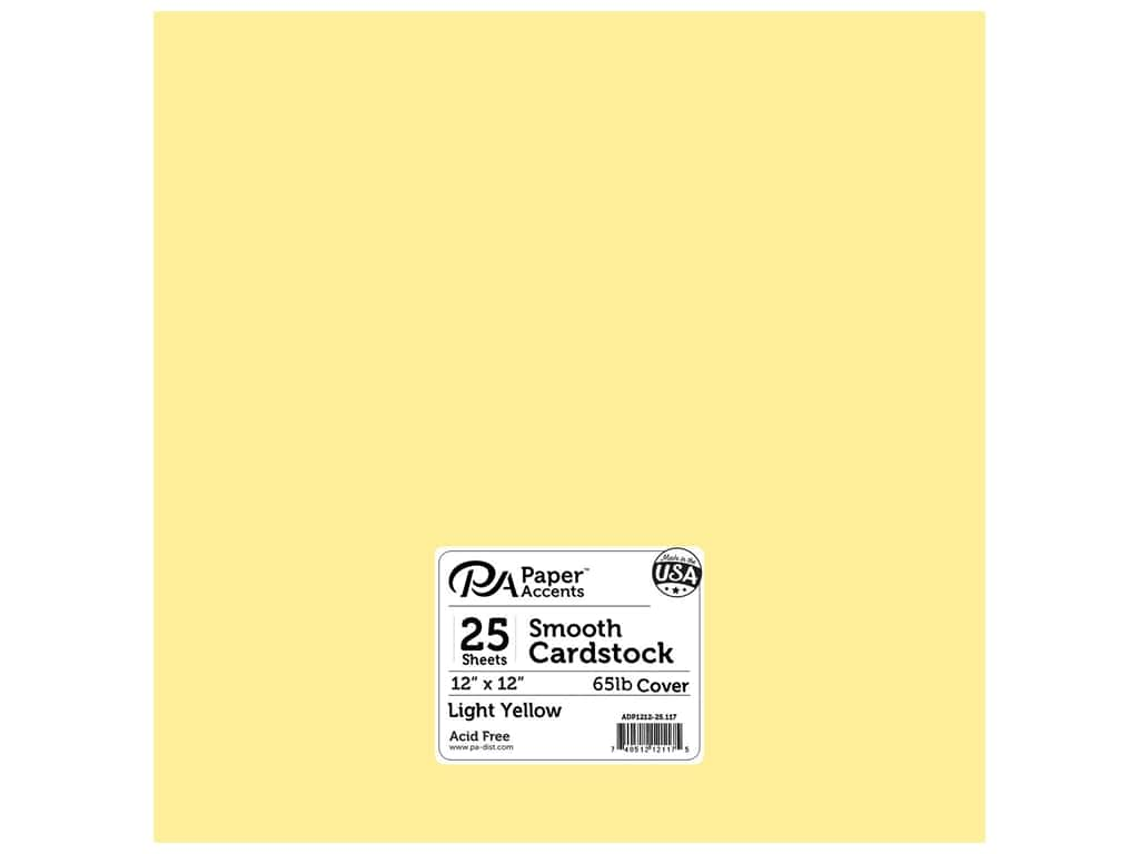 Paper Accents Cardstock 12 x 12 in. #117 Smooth Light Yellow 25 pc.