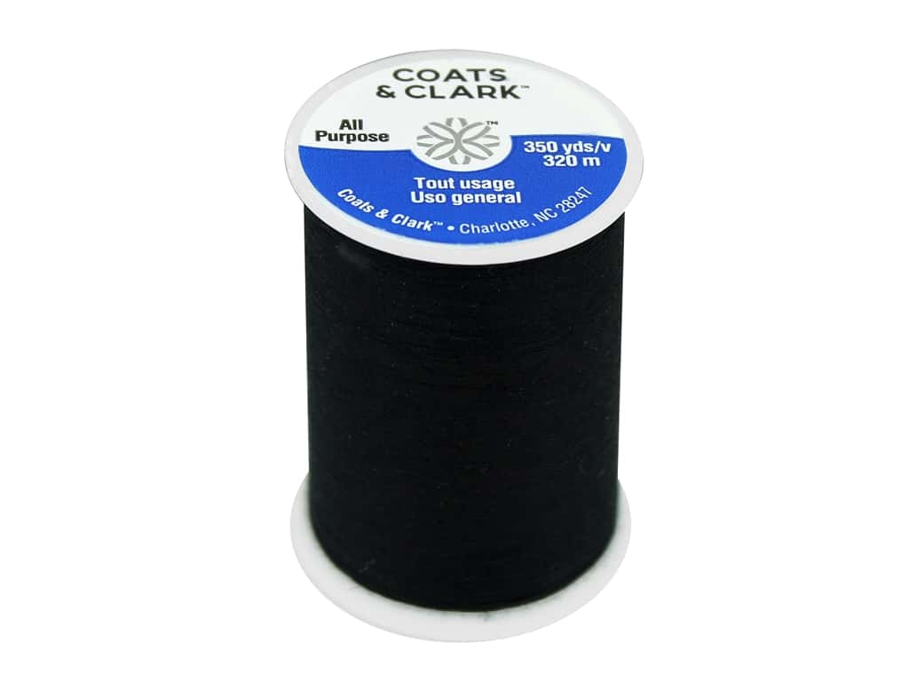 Coats & Clark All Purpose Polyester Thread 350 yd. Black (12 spools)