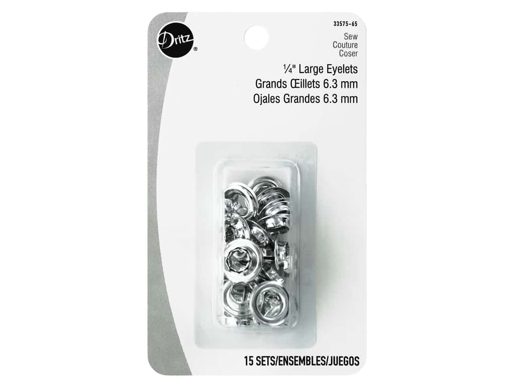 Dritz Large Eyelet 1/4 in. Nickel 15 pc.