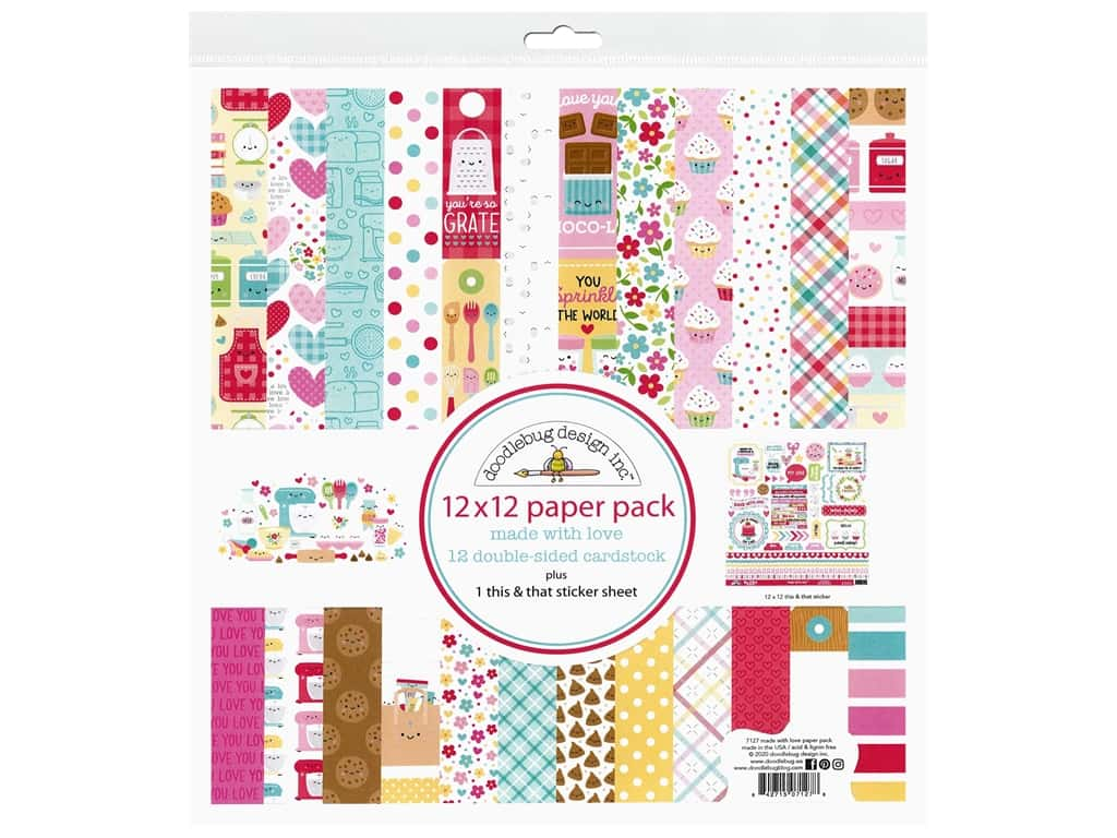 Doodlebug Collection Made With Love Paper Pack 12 in. x 12 in.