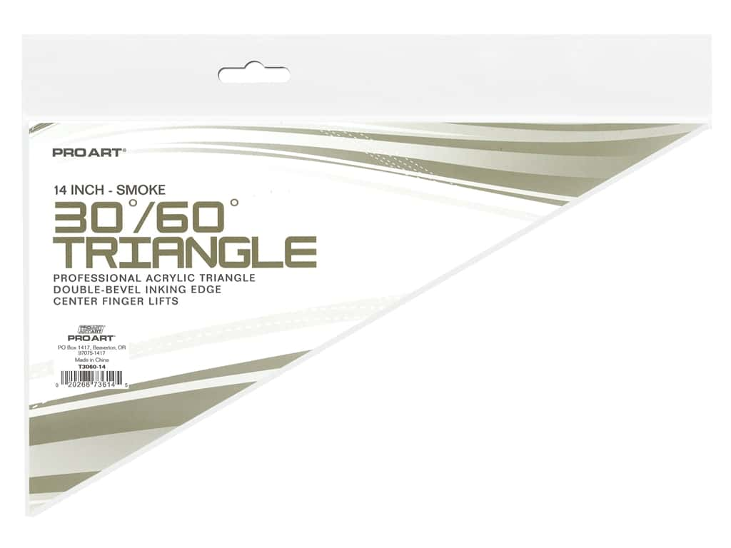Pro Art Drafting Triangle 14 in. With Ink Edge & Finger Lift 30/60 Smoke