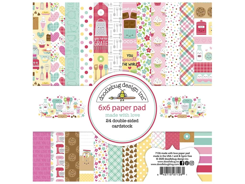 Doodlebug Collection Made With Love Paper Pad 6 in. x 6 in.