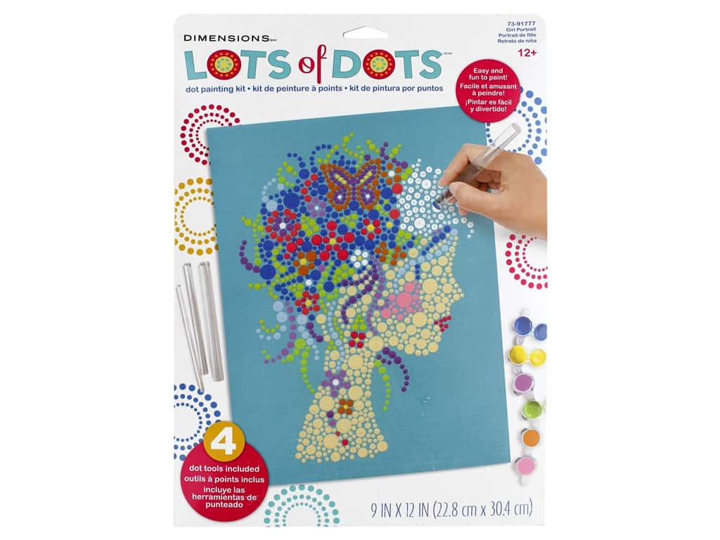 Dimensions Lots of Dots Dot Painting Kit - 9 x 12 in. Girl Portrait