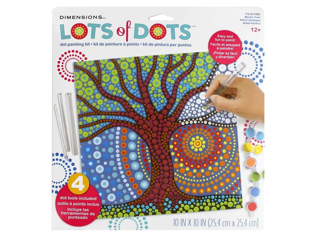 Dimensions Lots of Dots Dot Painting Kit - 10 x 10 in. Mystic Tree