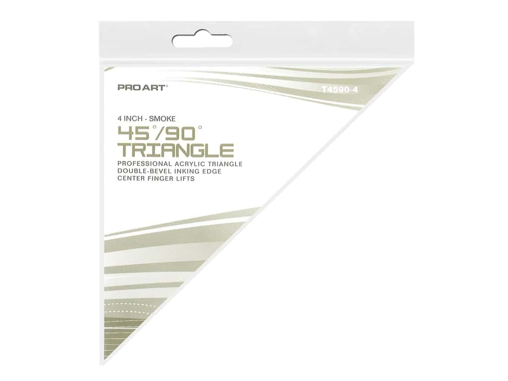 Pro Art Drafting Triangle 4 in. With Ink Edge & Finger Lift 45/90 Smoke