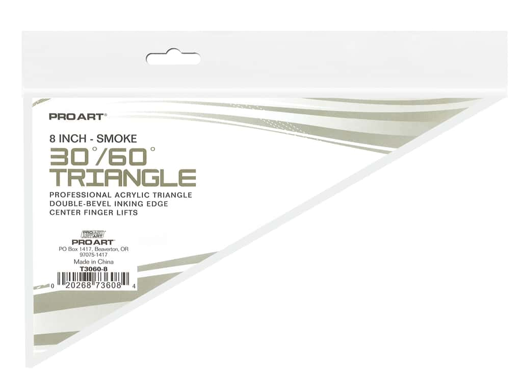 Pro Art Drafting Triangle 8 in. With Ink Edge & Finger Lift 30/60 Smoke