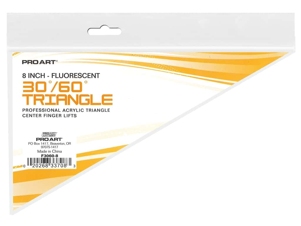 Pro Art Drafting Triangle 8 in. With Finger Lift 30/60 Fluorescent
