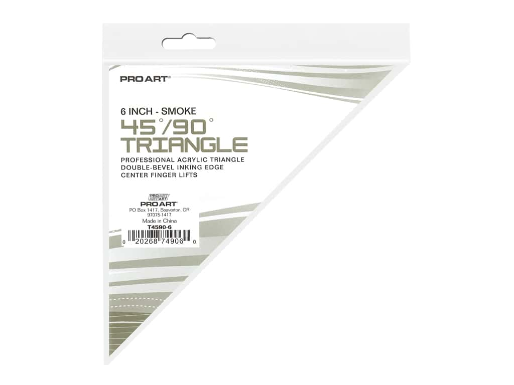 Pro Art Drafting Triangle With Ink Edge & Finger Lift 6 in. Smoke