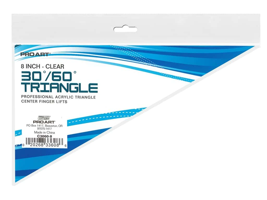 Pro Art Drafting Triangle 8 in. Finger Lift 30/60 Degree Clear