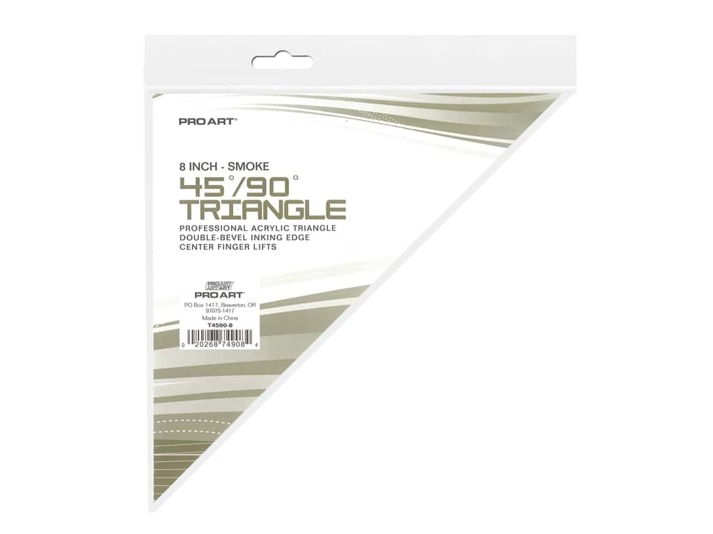 Pro Art Drafting Triangle 8 in. With Ink Edge & Finger Lift 45/90 Smoke