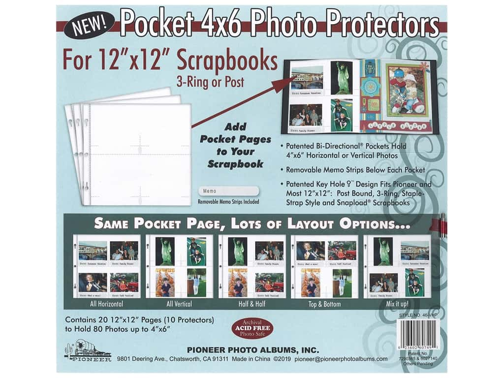 Pioneer Refill Page Scrapbook 12 in. x 12 in. with 4 in. x 6 in. Pocket 5 pc Bi-Directional