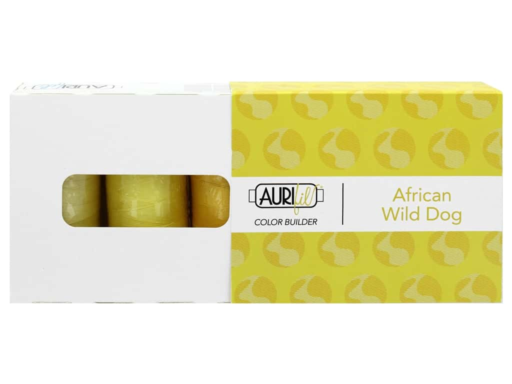 Aurifil 40 wt. Mako Cotton Color Builders - African Wild Dog Yellow 3 pc.