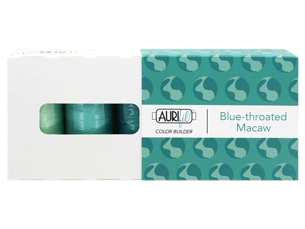 Aurifil 40 wt. Mako Cotton Color Builders - Blue Throated Macaw 3 pc.