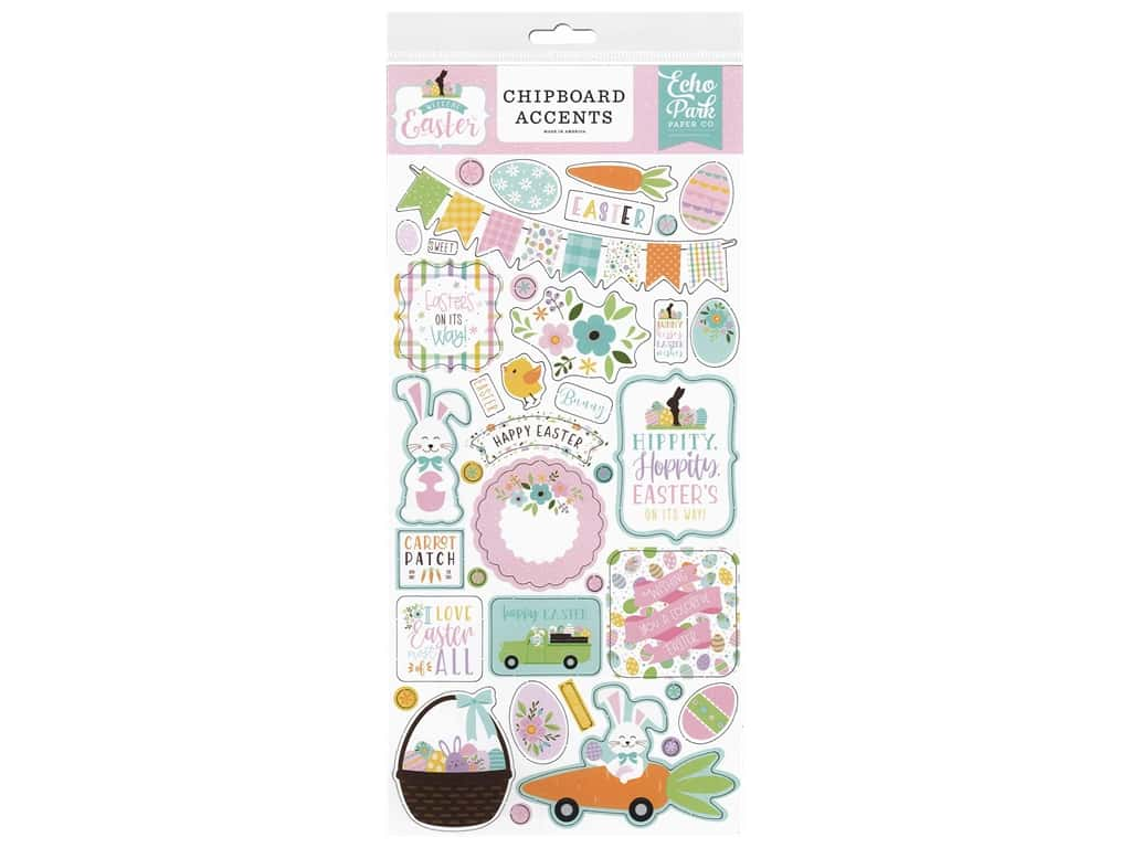 Echo Park Collection Welcome Easter Chipboard Accents 6 in. x 13 in.