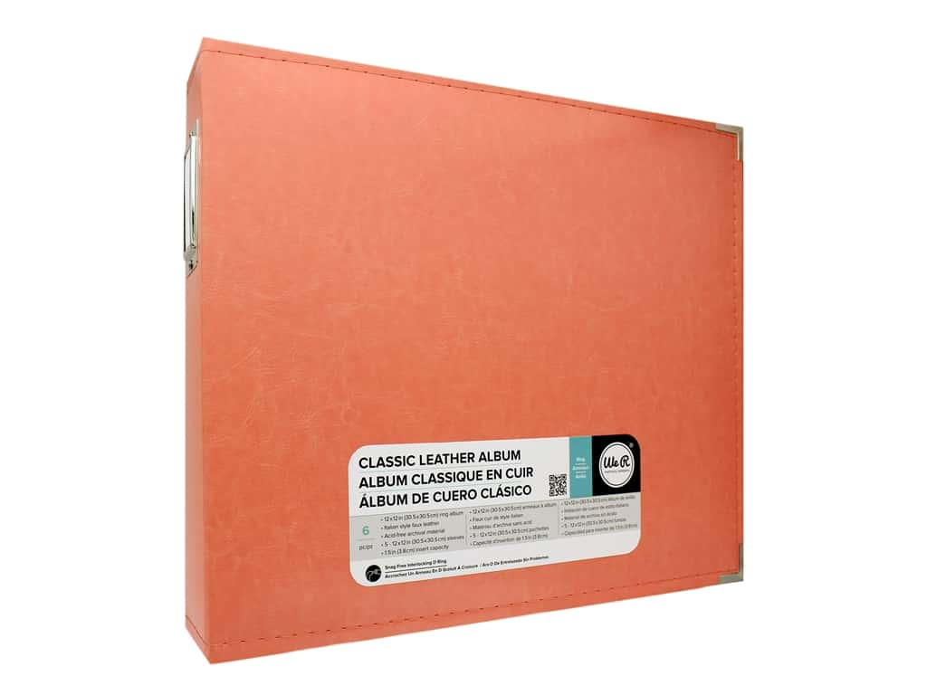 We R Memory Album  12 in. x 12 in. Leather D-Ring Coral