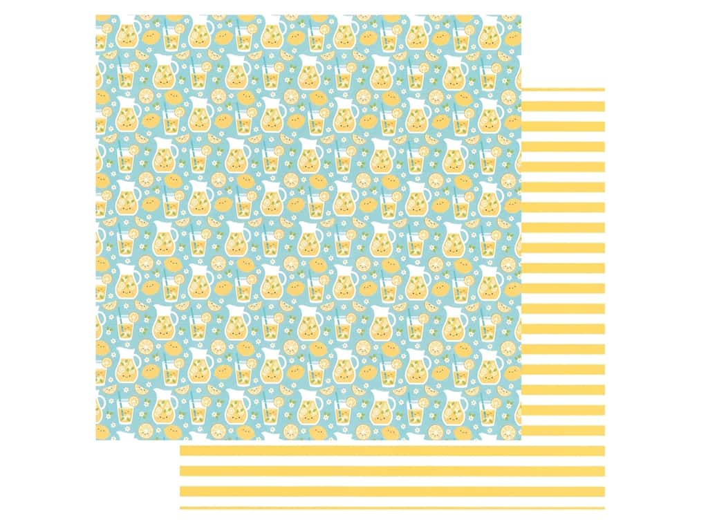 Doodlebug Collection Bar-B Cute Paper 12 in. x 12 in. Fresh Lemonade (25 pieces)