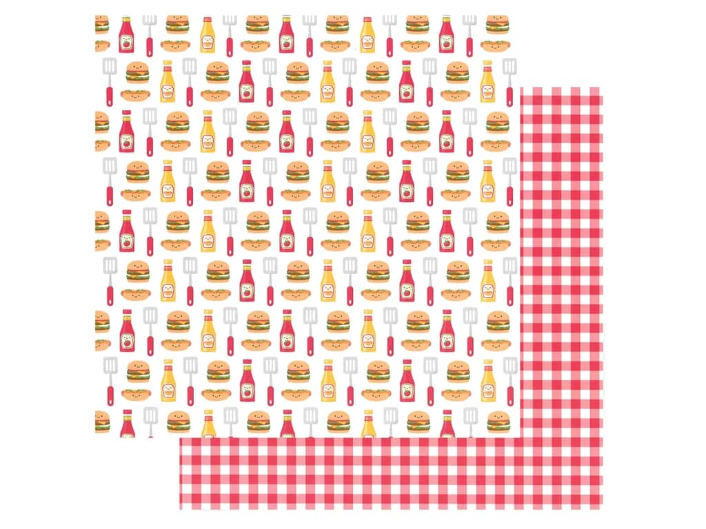 Doodlebug Collection Bar-B Cute Paper 12 in. x 12 in. Picnic Plaid (25 pieces)