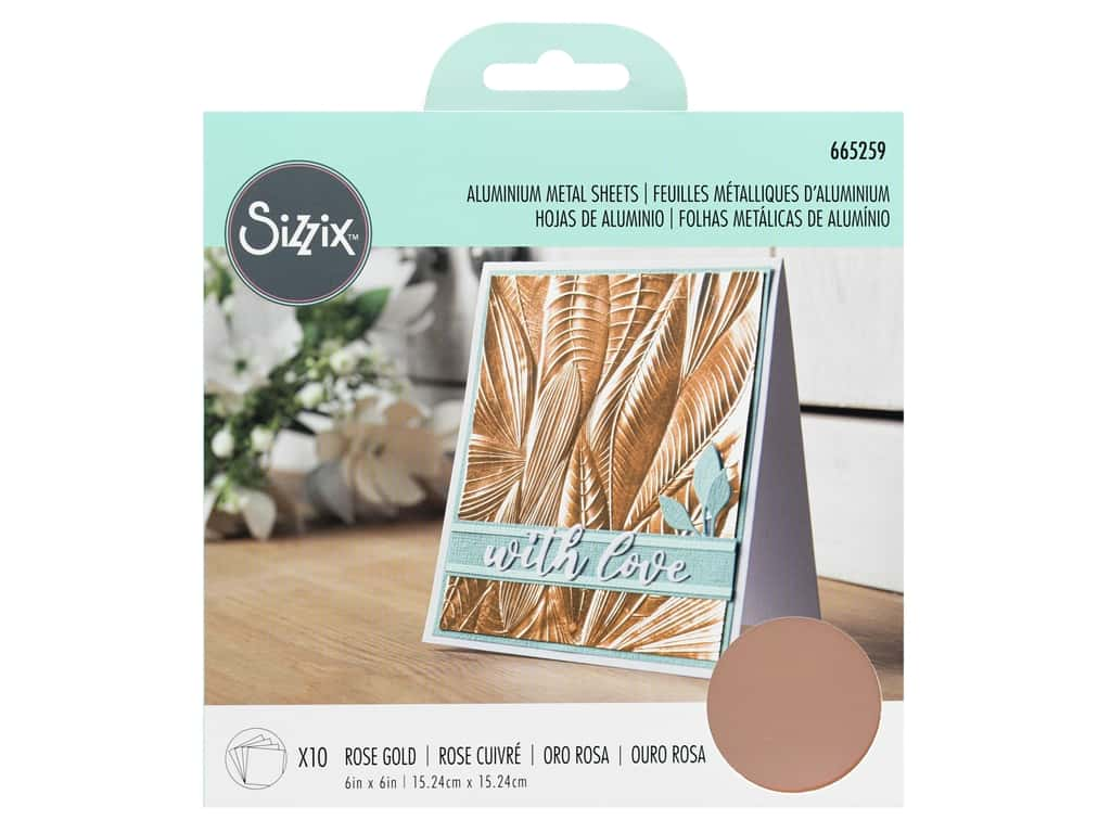 Sizzix Surfacez Aluminum Metal Sheet 6 in. x 6 in. Rose Gold 10 pc