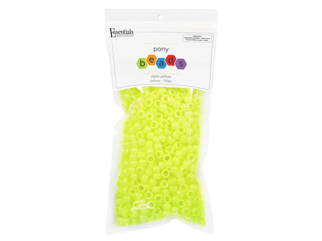 Essentials By Leisure Arts Pony Beads -  6 x 9 mm Neon Yellow 750 pc.