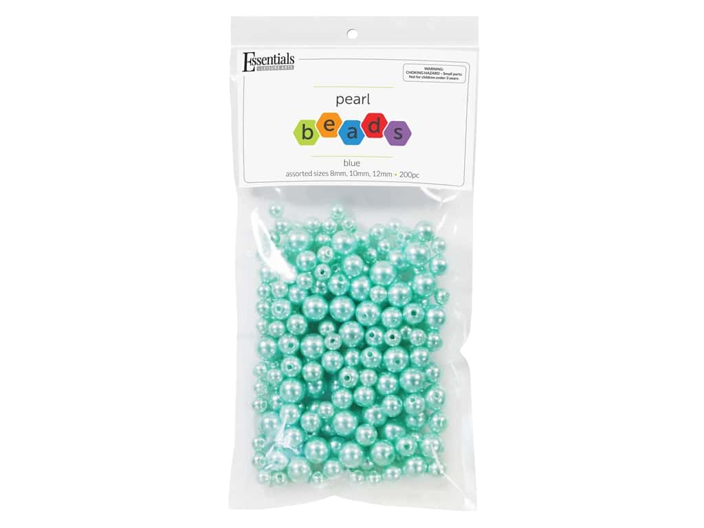 Essentials By Leisure Arts Plastic Pearls - Assorted Size Blue 200 pc. (4 pieces)