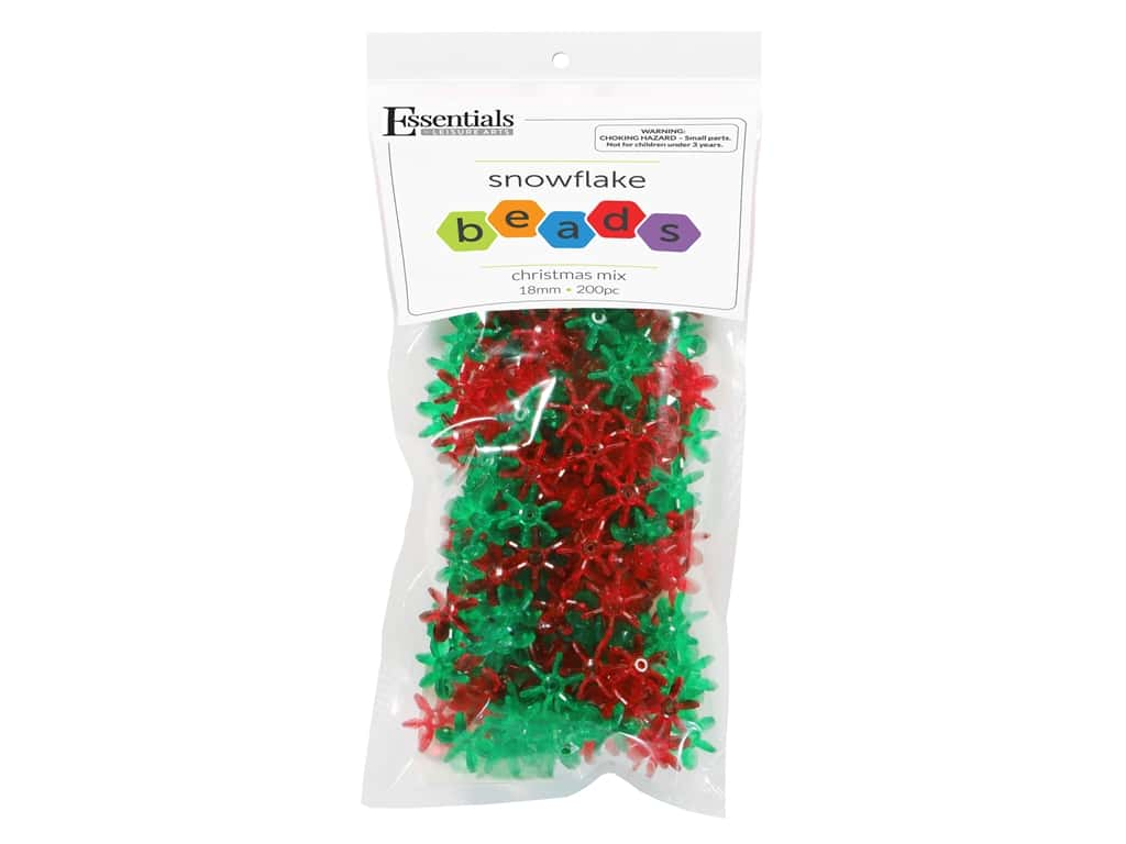 Essentials By Leisure Arts Bead Snowflake Bead 18 mm Christmas Mix 200 pc