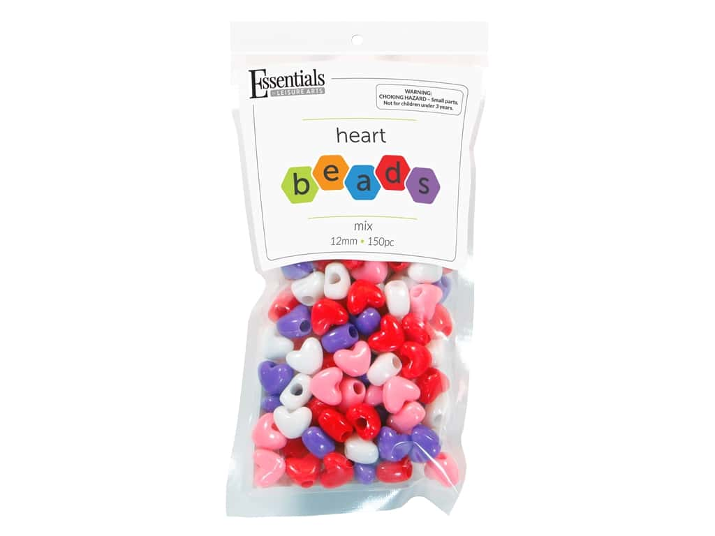 Essentials By Leisure Arts Heart Beads - 12 mm Mix 150 pc.