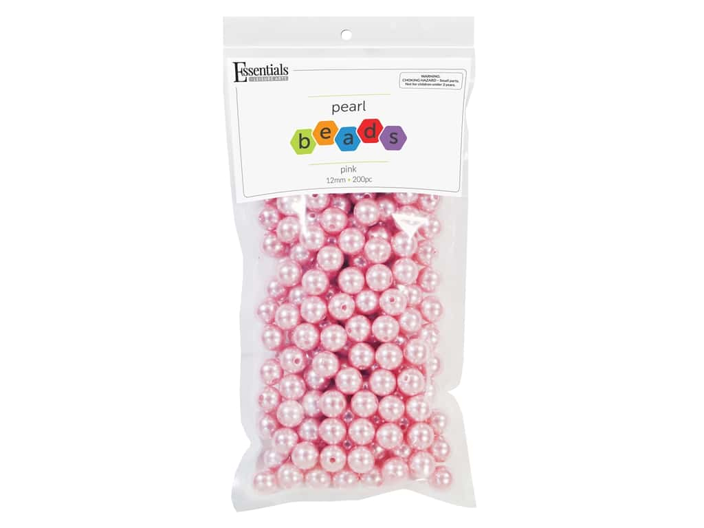 Essentials By Leisure Arts Plastic Pearls - 12 mm Pink 200 pc. (3 pieces)
