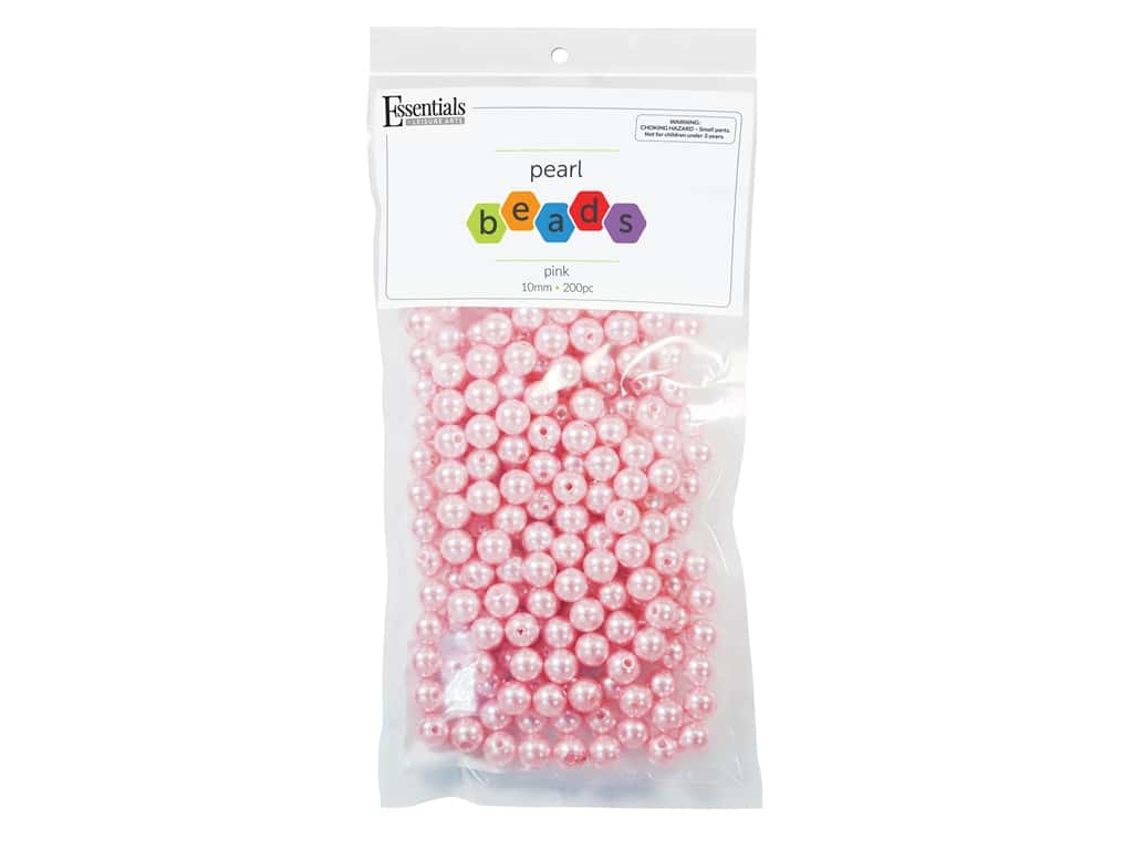 Essentials By Leisure Arts Plastic Pearls - 10 mm Pink 200 pc. (2 pieces)