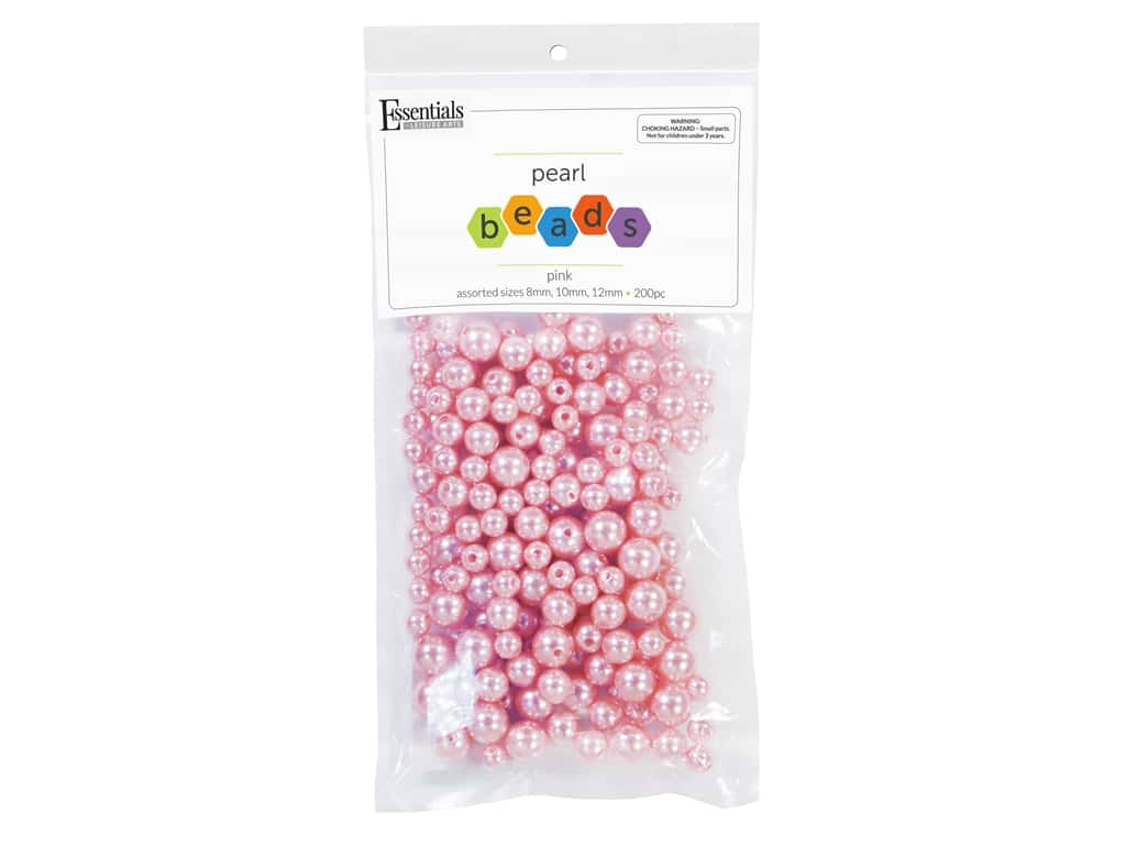 Essentials By Leisure Arts Plastic Pearls - Assorted Size Pink 200 pc. (4 pieces)