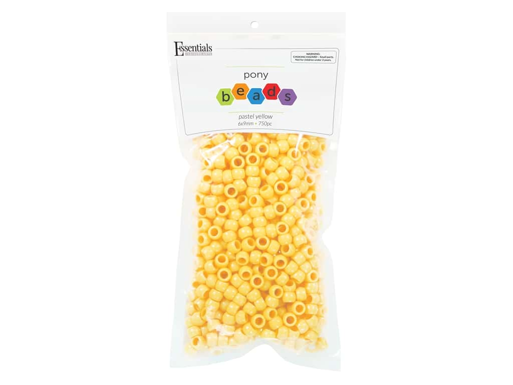 Essentials By Leisure Arts Pony Beads -  6 x 9 mm Pastel Yellow 750 pc.