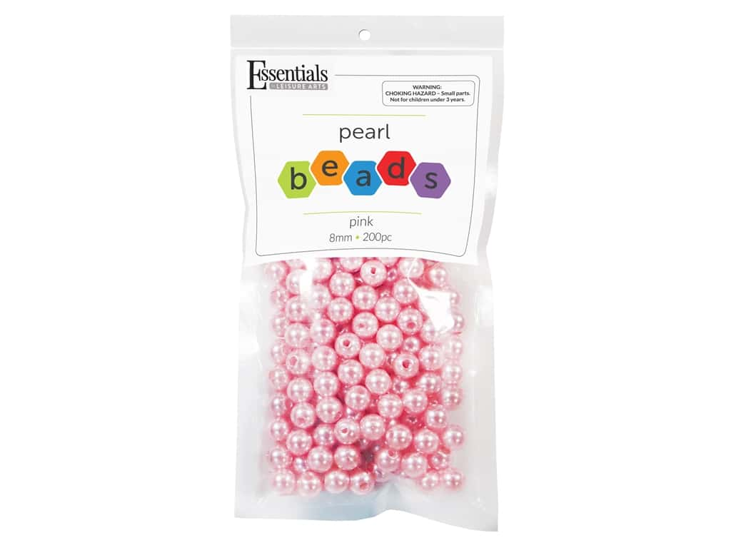 Essentials By Leisure Arts Plastic Pearls - 8 mm Pink 200 pc. (4 pieces)