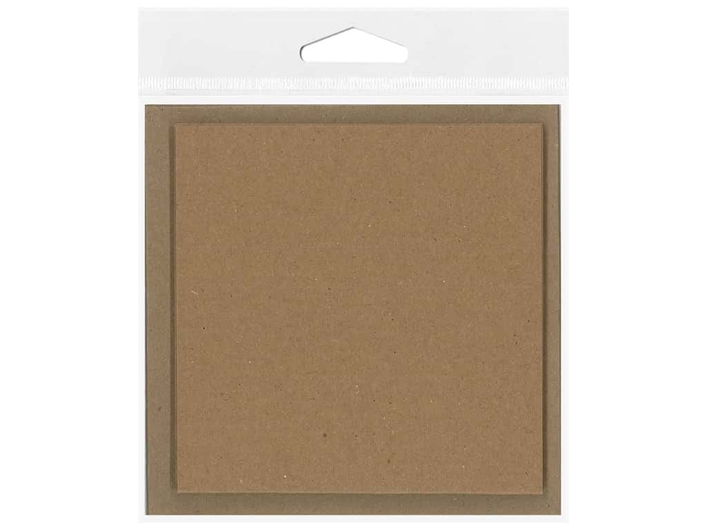 Paper Accents Blank Card & Envelopes - 4 x 4 in. - Brown Bag 6 pc.
