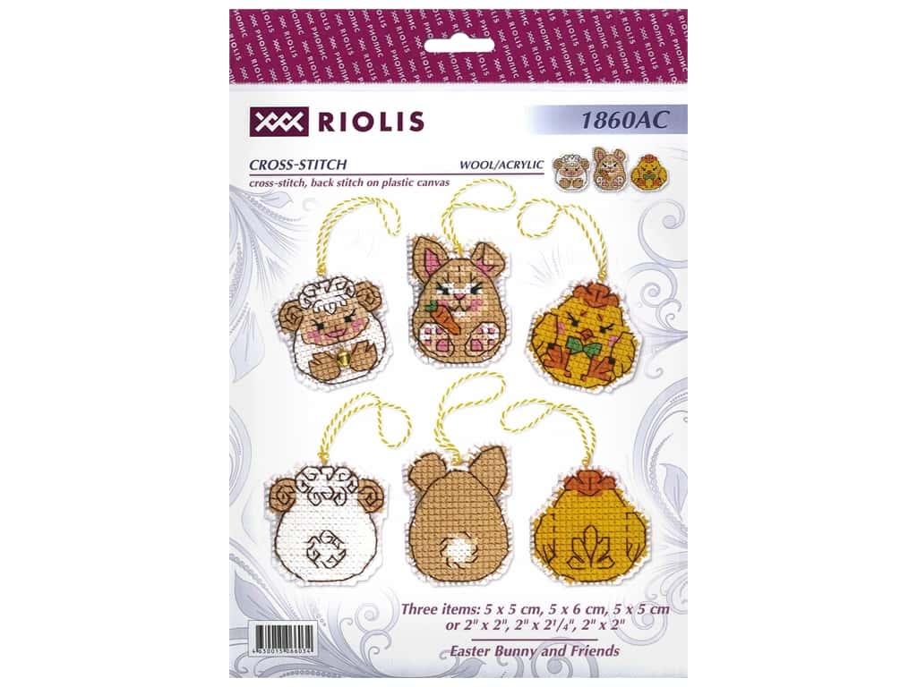 Riolis Cross Stitch Kit Easter Bunny And Friends Plastic Canvas