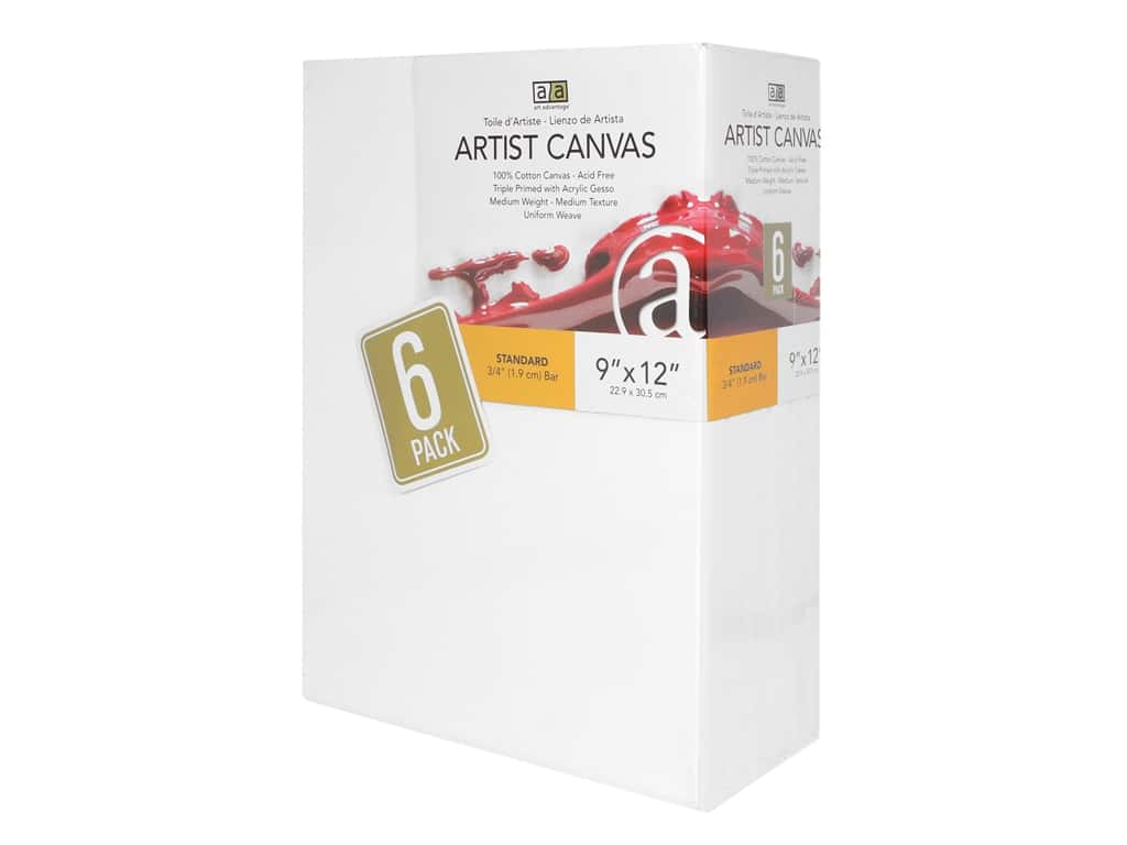 Art Advantage Painting Surface Artist Canvas Visual Edge 9 in. x 12 in. 6 pc