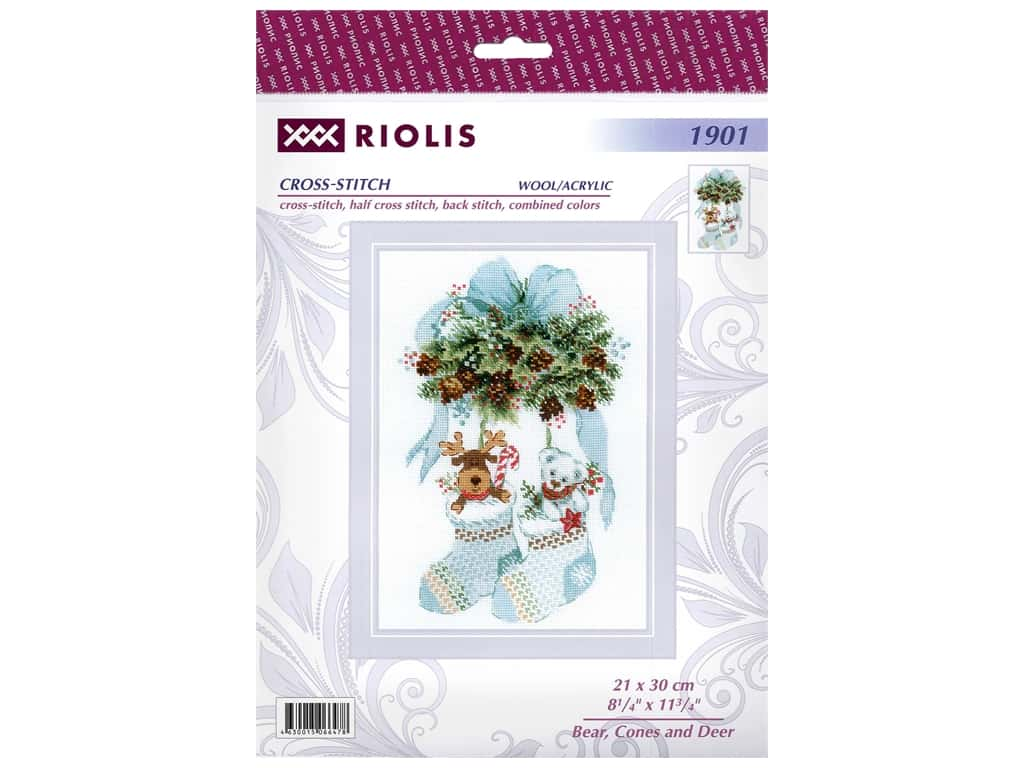 Riolis Cross Stitch Kit Bear, Cones And Deer