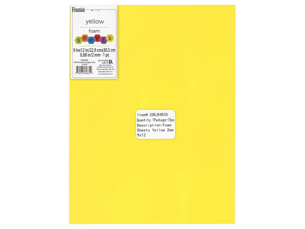 Essentials By Leisure Arts Foam Sheet 9 in. x 12 in. 2 mm Yellow 15 pc
