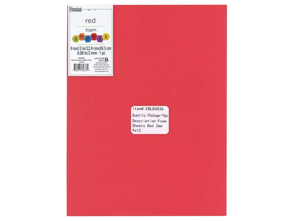 Essentials By Leisure Arts Foam Sheet 9 in. x 12 in. 2 mm Red 15 pc