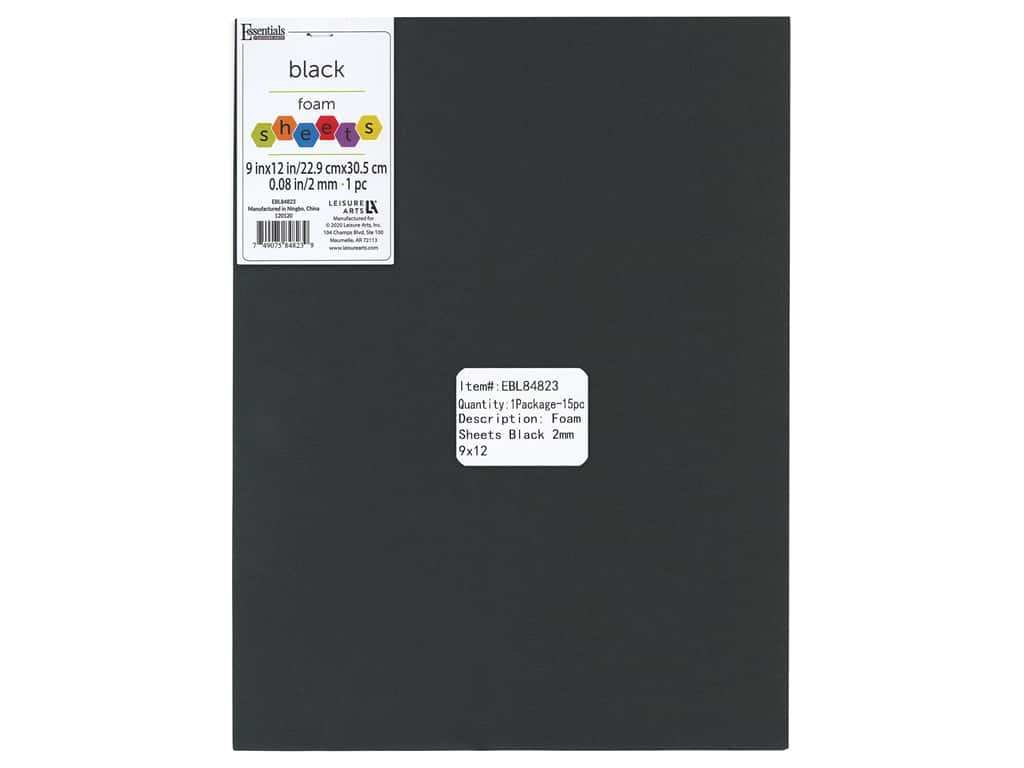 Essentials By Leisure Arts Foam Sheet 9 in. x 12 in. 2 mm Black 15 pc
