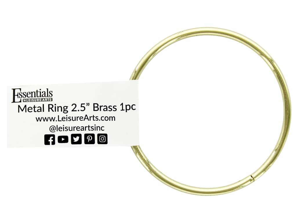 Essentials By Leisure Arts Metal Ring 2.5 in. Brass (10 pieces)