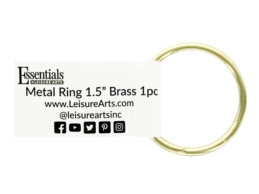 Essentials By Leisure Arts Metal Ring 1.5 in. Brass (10 pieces)