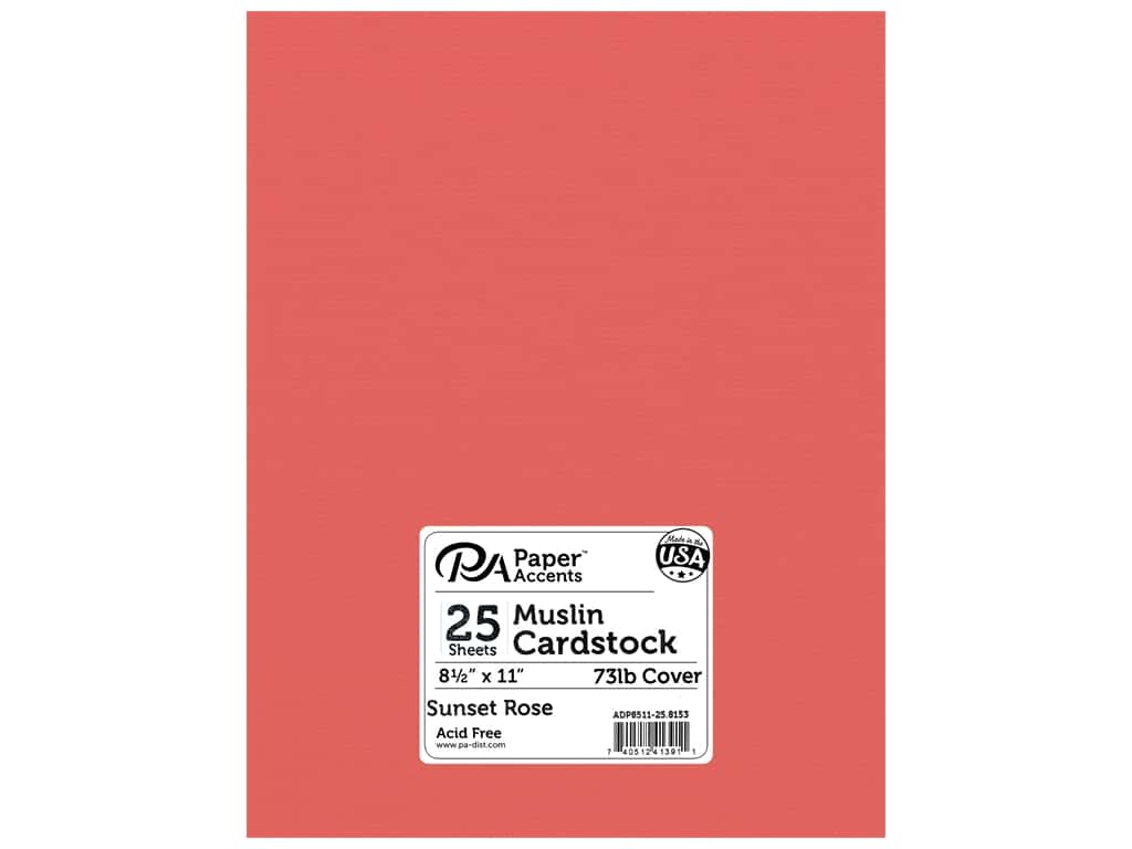 Paper Accents Cardstock 8.5 in. x 11 in. Textured 73 lb Sunset Rose 25 pc